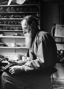 The shoemaker F. A. Sandell in his workshop.