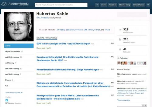 Ein Beispiel: Das Profil von Prof. Dr. Hubertus Kohle bei academia.edu mit der Angabe von thematischenSchwerpunkte.